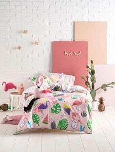 Flamingo Beach, Bed Linen Design, Pink Kids, Duvet Cover Sets, Linen Bedding, Your Child, Cribs, Comforters, Create Your Own