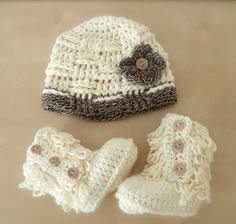 baby girl clothes baby girl hat and bootie by stitchesbystephann, $40.00