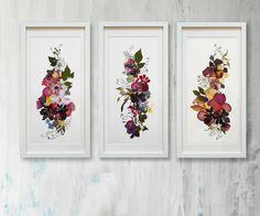 Set of 3 original plants art Floral art Horizontal artwork Flowers decor Pressed flowers art Set of art  Botanical illustration by FloralCollage on Etsy