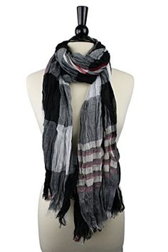 Pop Fashion Women's Long Tissue Scarf with Frayed Design and Scrunch Texture (Black, White, Red, Cream)