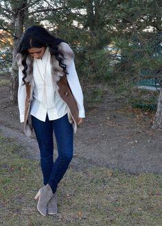 Ellen Tracy Shearling Faux Fur Vest