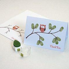 Thumbprint Owl Thank You Card <3