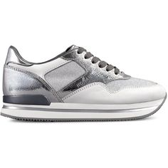 Hogan - Sneakers - H222 (£260) ❤ liked on Polyvore featuring shoes, sneakers, leather shoes, low sneakers, low heel wedge shoes, hogan shoes and leather sneakers