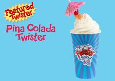Trying to stay dry from the rain? Come in and enjoy our Featured Twister for the month! Served with a decorative umbrella ☂️ Pina Colada, Food Truck, Catering, Menu, Rain, Menu Board Design, Rain Fall, Catering Business, Mobile Food Cart