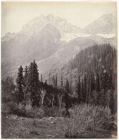 anoniem | Gezicht op besneeuwde bergtoppen in de omgeving van Kashmir in India, attributed to Samuel Bourne, 1862 - 1874 |