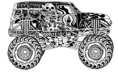 coloriage 3 dessin Monster Truck