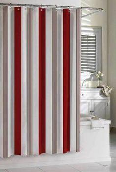 Cabana Stripe Shower Curtain in Red by Kassatex