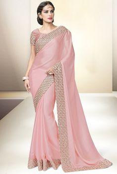Pink Satin #Designer #Saree with #Blouse