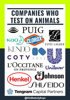 The companies listed are NOT considered cruelty-free. If you would like to find out which well known beauty brands are owned by these companies, then click the link below. Parent Company, Animal Testing, Vegan Beauty, Beauty Routines, Brand You, Cruelty Free, How To Find Out, Link