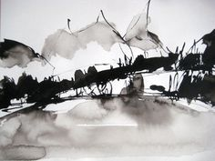 """12.6 x 9.4 """" Original Abstract Expressionist Ink Drawing OOAK Unique Black White Aquarelle Painting Landscape Scenery Modern Minimalist"""