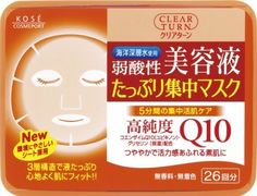 Kose Clear Turn Essence Facial Mask with CoQ10 and Glycerin - 26 masks by CLEAR TURN. $19.20. 26 Masks in their own convenient storage container.. Three-layer soft sheet made with environmentally friendly materials holds more liquid and fits curves of your face well.. Made in Japan, comes with English usage instructions and ingredients.. Uses deep ocean water to hydrate skin and keep skin soft.. Weakly acidic, no fragrance, no colorant, and no alcohol. .. Clear Turn makes ...