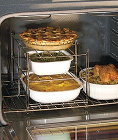 3-Tier Casseroles/Roasting Pans Oven Rack ~ What ?? This would be so helpful at Thanksgiving, Christmas, Easter.