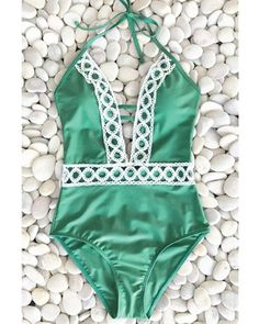 3523bf422b7db Deep V - green  swimsuit  summer  beachwear  pool  teen  girls