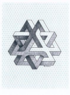 #impossible #isometric #penrose #triangle #mathart #regolo54 #geometry #symmetry #oscareutersvärd #escher #handmade