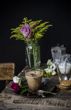 Beautiful Iced Coffee Lifestyle Image Setup - I Love The Dark Flowers And Rustic Table
