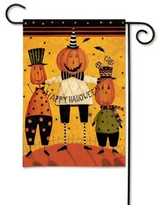 "Primitive Happy Halloween Pumpkin Men Polka Dot Star Double Sided Garden Flag 13 x 18 by Flag Trends. $8.99. Who's There Halloween Garden Flag at our every day low price.. Buy direct from Flags On A Stick and save on all your Halloween flags today!. Colorful Halloween Garden Flag features adorable pumpkin heads dressed in colorful whimsical striped. Reads correctly from both sides.. Dimensions: Halloween Garden Flag Measures 13"" x 18"".. New for 2012. Pumpkin Heads designed by ..."