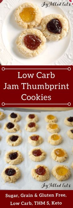 Low Carb Jam Thumbprint Cookies - Egg Gluten Sugar & Grain Free, THM S - Jam Thumbprint Cookies are a holiday classic I don't think I've ever been to a cookie exchange where someone didn't make these. They are very easy to make, pretty, and tasty.