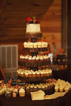 Wood slab cupcake tree and mini cupcakes @Mari Julian I love this idea, but they're really expensive to buy.  Denise made Leah's for her baby shower.