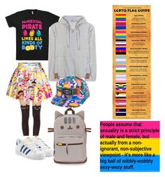 """""""me"""" by oh-no-its-faith ❤ liked on Polyvore featuring adidas Originals, adidas, Paper Root, lgbt, Pansexual and lgbtq"""