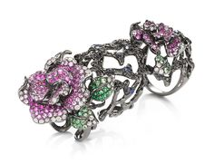 Wendy Yue hinged ring in 18k gold, set with black diamonds, white diamonds and coloured sapphires.