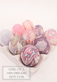 Dye Easter eggs with thrift store silk ties and vinegar.
