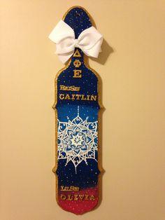 DPhiE sorority Paddle made for my little  Galaxy mandala glitter