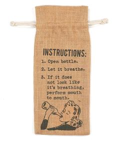NOW THATS FUNNY ! Take a look at this Orange 'Instructions' Wine Bag today!
