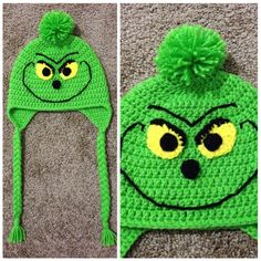 The, the, the .... The Grinch! Basic double crochet hat with ear flaps, add a Pom Pom and some facial features. Made them up as I went along using this pic for inspiration: http://www.etsy.com/listing/114827486/grinch-crochet-hat-baby-hat-childs-hat?ref=sr_gallery_23&ga_search_query=crochet+hat&ga_view_type=gallery&ga_ship_to=US&ga_ref=auto10&ga_search_type=all&ga_facet=crochet+hat