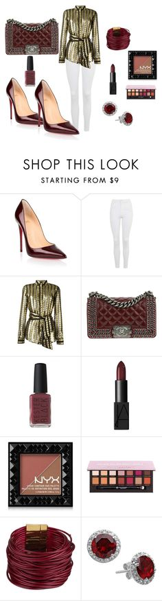 """""""Untitled #103"""" by cas199 on Polyvore featuring Christian Louboutin, Topshop, Dodo Bar Or, Chanel, Kester Black, NARS Cosmetics, NYX, Anastasia Beverly Hills and SAACHI Style"""