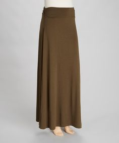 Take a look at this Zenana Dark Olive Roll Waist Maxi Skirt on zulily today!