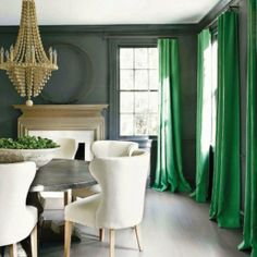 kelly green emerald traditional dining design curtains drapes dining room grey