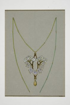Gustav Gaudernack. Watercolor design of pendant and chain in silver and plique-a-jour enamel with yellow stone. Typical art noveau style. From Paris study visit 1906-1907