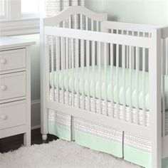 Silver Gray and Mint Fawn Crib Skirt Two Front Pleats | Carousel Designs