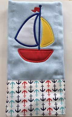 Embroidered sail boat diaper!