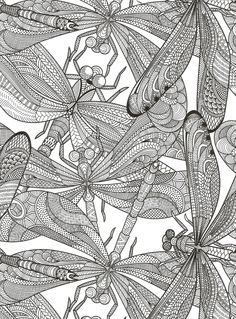 Printable coloring pages of a flower illustration dragonfly art