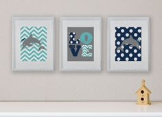 Dolphin, Nautical, Sea, Children's Wall Art, Children's Art Print, Nursery Decor, Dolphin Decor- Set of three 8x10 prints