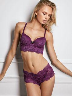 "modelmylove: ""Romee, purple, and crochet lace love. """