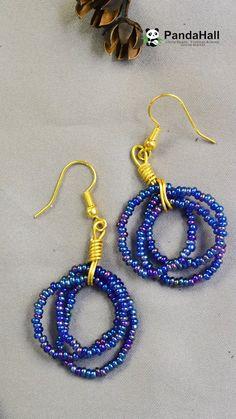 Tutorial on Blue Seed Beads Earrings - Handmade jewelry Beaded Earrings Patterns, Jewelry Patterns, Beaded Bracelets, Bead Patterns, Bracelet Patterns, Bracelet Designs, Beaded Necklace, Embroidery Bracelets, Wire Wrapped Bracelet
