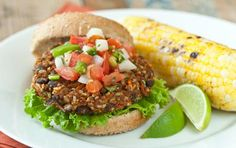 Southwest Veggie Burgers // Kick up your veggie burger with spicy flavors! #summer #burger #recipe