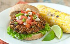 Southwest Veggie Burgers // Kick up your veggie burger with spicy flavors! #summer #burger #recipe