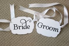 READY TO SHIP Bride & Groom Chair Signs by ThoughtfullyDesigned, $10.00