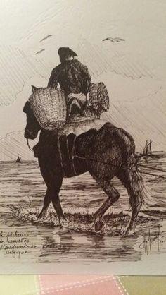 Pêcheur de crevettes à cheval,  Oostduinkerke-Belgique  (encre)