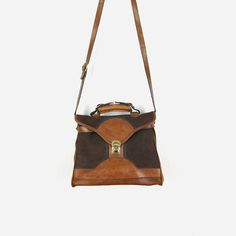 Vintage 70s Large Brown and Cognac Leather Handbag / Suede &
