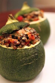8-ball Zucchini Stuffed with Vegetable Lentil Medley - growing these little gems in my garden!
