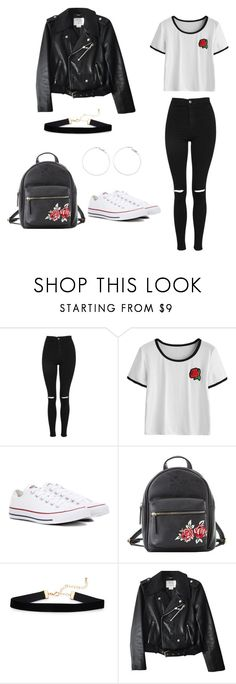 """""""outfit for school"""" by barbarapereira110 ❤ liked on Polyvore featuring Topshop, Converse, Charlotte Russe and Kate Spade"""