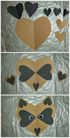 Paper Heart Raccoon Craft For Kids Posted In Lovely And Easy To Make DIY Valentines Day Tutorial Picture Kids Crafts, Toddler Crafts, Crafts To Do, Preschool Crafts, Projects For Kids, Arts And Crafts, Paper Crafts, Diy Paper, Easy Crafts