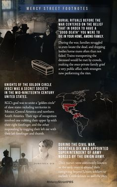A footnotes infographic from week 5 of Mercy Street Pbs, You Scare Me, Week 5, Us History, Riveting, Episode 5, I Am Scared, Enough Is Enough, Infographic