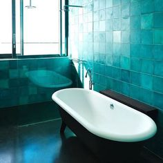 Dappled turquoise - the ultimate #handmade effect. Fab bathroom by @brionyfitzgeralddesign with our #concretetiles #madeinmorocco #designerswelove #ihavethisthingwithtiles