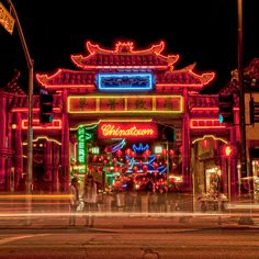 Chinatown  los angeles city neon lights night by SoulerCoaster