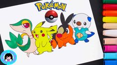 POKEMON Snivy, Pikachu, Tepig, Oshawott!  Coloring with DarlingDolls